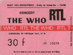 Ticket stub Paris 1974 (thanks to Jos? from France)
