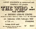 Ticket stub Deeside 1981 (sent by Phil Hopkins)