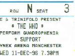 Ticket stub, Manchester 11-12-1996
