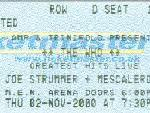 Ticket stub Manchester, 02-11-2000 (from Darren Williams)
