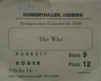 Ticket Gothenburg, 21. October 1966 (Mr Kenneth Olsson)