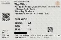 Ticket London 6 July 2019