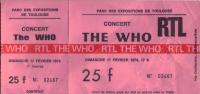 Ticket stub from Toulouse 1974