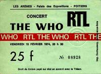 Ticket stub for Poitiers, February 15th 1974