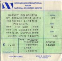 Ticket Stub 11.09.1982 (Steve Bastow)