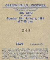Ticket Stub, 25-01-1981 (© Richard Lewis)