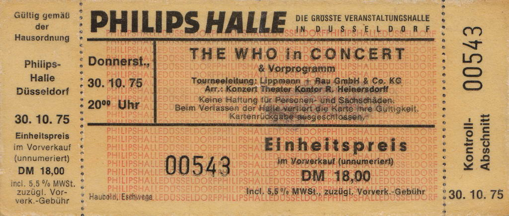 Ticket stub Dusseldorf 1975